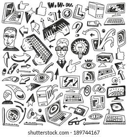 Programming , computers - doodles set