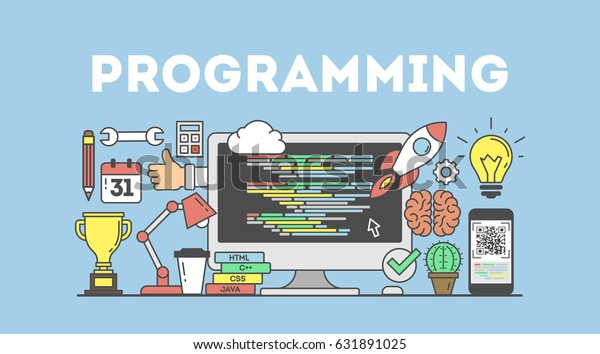 Programming concept illustration. Signs and icons on blue background.