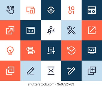 Programming and developer icons. Flat style