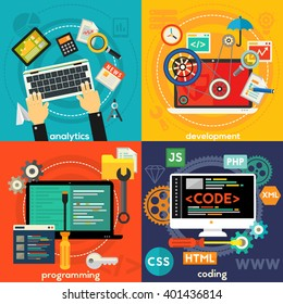 Programming, Development, Analytics and Coding Concept Banners