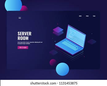 Programming and development software, coding process, open laptop with code line on screen, isometric technology server room vector illustration
