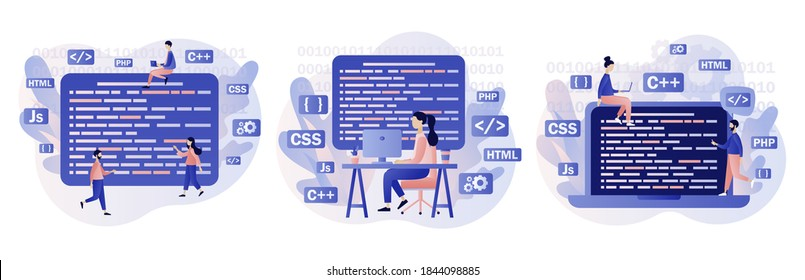 Programming and engineering development. Programmer or developer create code programming language. PHP, HTML, C++, CSS, Js. Modern flat cartoon style. Vector illustration on white background