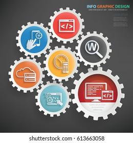 Programming info graphics design,clean vector