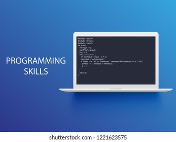 programming language with example code on screen text