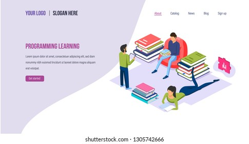 Programming learning. Learning high-level languages, improving programming and coding skills, professional online training, reading technical literature. Landing page template. Isometric vector.