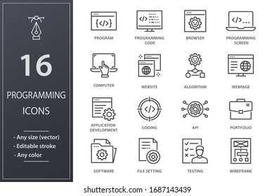 Programming line icons. Set of software, coding, website, API and more. Editable stroke.