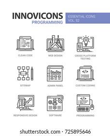 Programming - modern essential vector line design icons set. Clean code, web, responsive design, cross platform testing, mobile device, sitemap, admin, panel, custom coding, software, computer