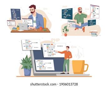 Programming set, man working on computer coding information using java language, programmer, games tester or developer writing scripts. Internet technology software, monitors screens, network