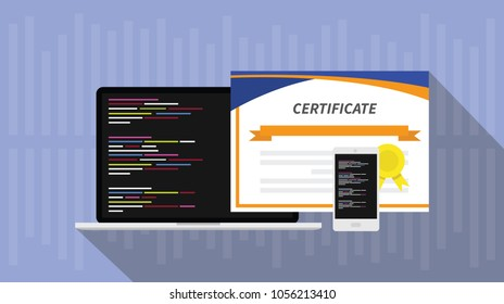programming skill certificate certification with laptop and smartphone app script software programs