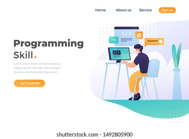 Programming skill concept, web engineer at work, vector images. programming Unique Illustration web site landing page template. vector design.