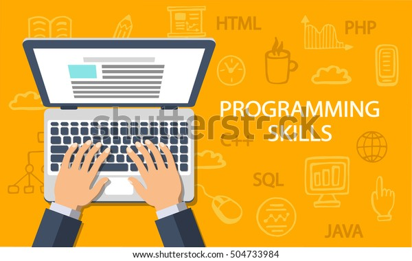 Programming Skills Concept Coding Development Background Stock