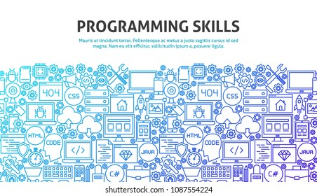 Programming Skills Concept. Vector Illustration of Line Website Design. Banner Template.