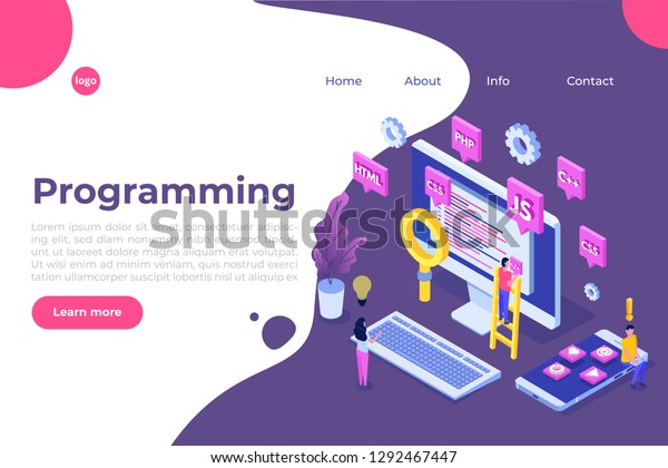 Programming Software App Development Isometric Concept Stock Vector