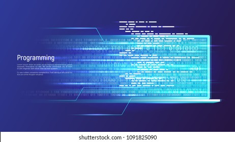 Programming, software development, coding concept. Vector illustration.