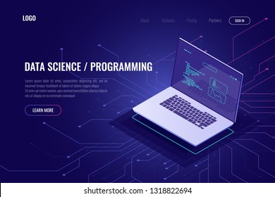 Programming and software development web page banner isometric icon, laptop pc with program code on screen, data statistic and analysis abstract concept, micro scheme, ultraviolet vector
