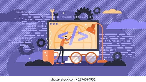 Programming vector illustration. Flat tiny person concept with IT computer. Application, software or web page coding process. Interface development with task algorithm source and executable designing.