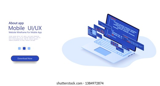 Programming web banner. Web development, application design, coding and programming on laptop concept with programming language and program code