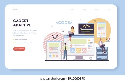 Programming web banner or landing page. Idea of working on the computer, coding, testing and writing program. Website front end and back end development. Isolated vector illustration