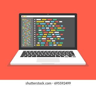 Programming, web development concept. Code on the screen laptop. Flat vector illustration.