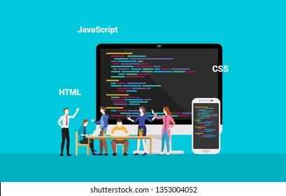 programming website frontend developepr working together - vector
