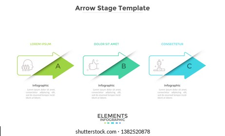 Progress bar with 3 colorful arrows placed in horizontal row. Concept of three successive phases of business development. Modern infographic design template. Vector illustration for presentation.