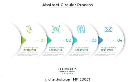 Progress bar with four round paper white elements with arrows or pointers. Concept of 4 steps of business development. Simple infographic design template. Vector illustration for presentation, banner.