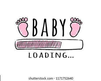 71acaed3c2cd6 Progress bar with inscription - Baby loading and kid footprints in sketchy  style. Vector illustration