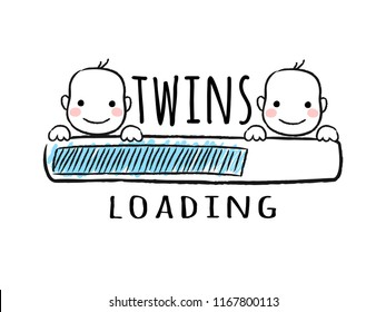 Progress bar with inscription - Twins loading and newborn boys smiling faces in sketchy style. Vector illustration for t-shirt design, poster, card, baby shower decoration