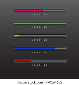 progress bar and loading different colors on black background vector.