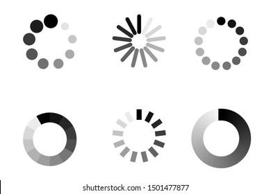 Progress bar loading icon. Load upload download round process. Circle website buffer loader or preloader
