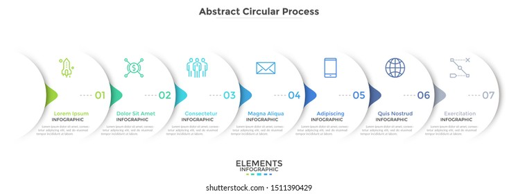 Progress bar with seven round paper white elements with arrows or pointers. Concept of 7 steps of business development. Simple infographic design template. Vector illustration for presentation, banner
