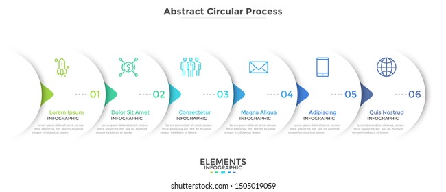 Progress bar with six round paper white elements with arrows or pointers. Concept of 6 steps of business development. Simple infographic design template. Vector illustration for presentation, banner.