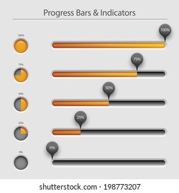 Progress bars and loaders, user interface design, eps10 vector