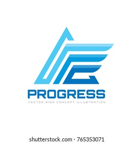 Progress - business vector logo template. Abstract triangle sign. Stylized pyramid structure concept illustration.