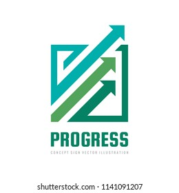 Progress - concept business logo template vector illustration. Abstract arrows system creative sign. Economic finance exhange symbol. Progress strategy development icon. Graphic design elements.