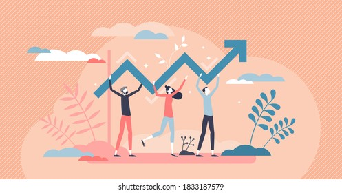 Progress development as success improvement and growth tiny person concept. Professional teamwork scene with increased and upward pointed arrow as profit, sales or career up reach vector illustration.