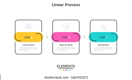 Progress diagram or flow chart with three linear rectangular elements placed in horizontal row. Concept of 3 startup development stages. Simple infographic design template. Modern vector illustration.