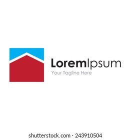 Progress house abstract roof perspective business logo element icon