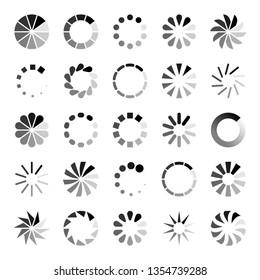 Progress loader icons. Load spinning circle circular buffering indication waiting loading computer website download upload status symbol vector set