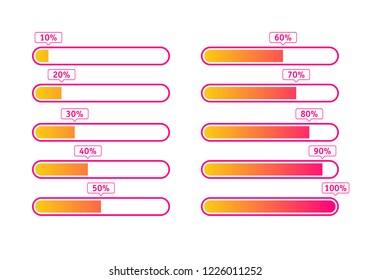 Progress loading bar, 100%, 90%, 80%, 70%, 60%, 50%, 40%, 30%, 20%, 10%  loading icon. Vector illustration.