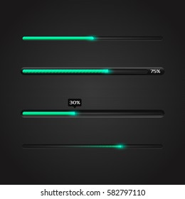 Progress loading bar with lighting. Concept technology. Vector illustration.