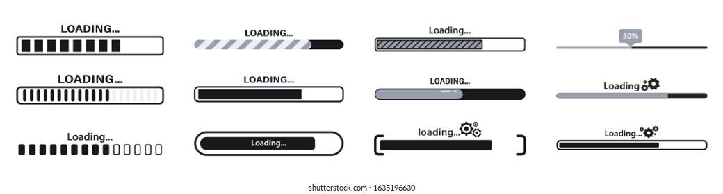 Progress loading bar. Load sign vector illustration. Set of connecting indicators. Collection Loading status , progress visualization web design elements on background. Download progress - Shutterstock ID 1635196630