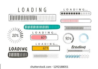 Progress loading bar, set of icons. Load symbol. Hand-drawn sketch vector