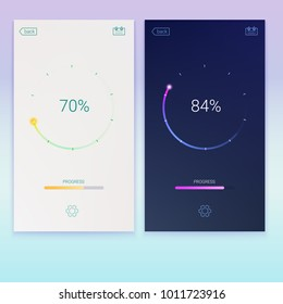 Progress of loading for mobile apps or web preloader on light and dark screen. Load, update or download diagram icon of progress bar, minimal flat design with percentage of progress, 3D illustration.