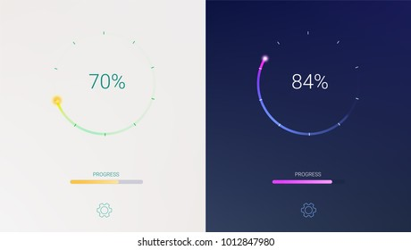 Progress of loading for mobile apps or web preloader on light and dark background. Radial load, update or download diagram icon of progress bar, minimal flat design with percentage of progress.