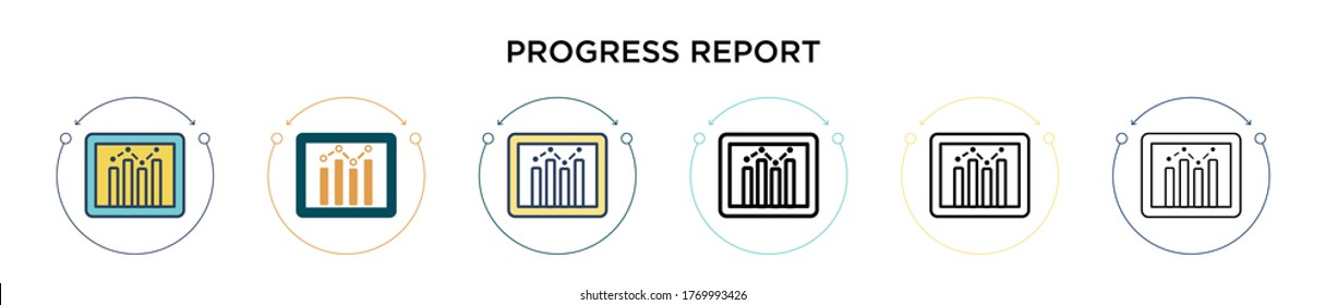 Progress report icon in filled, thin line, outline and stroke style. Vector illustration of two colored and black progress report vector icons designs can be used for mobile, ui, web
