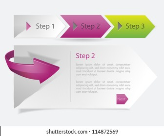 Progress steps template one two three