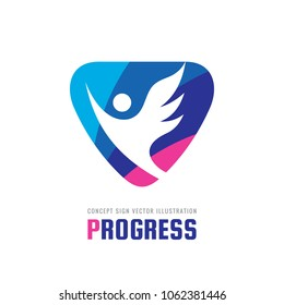 Progress - vector business logo template concept illustration. Abstract human character with wing creative sign. Positive symbol. Flight figure icon. Angel emblem. Graphic design element.