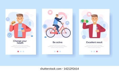 Progress weight loss man, the stages of the diet eating healthy, fitnes sport lifestyle on the bike,  training equipment. Flat vector illustration for loading pages, advertising, booklets.