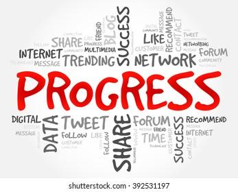 Progress word cloud, business concept
